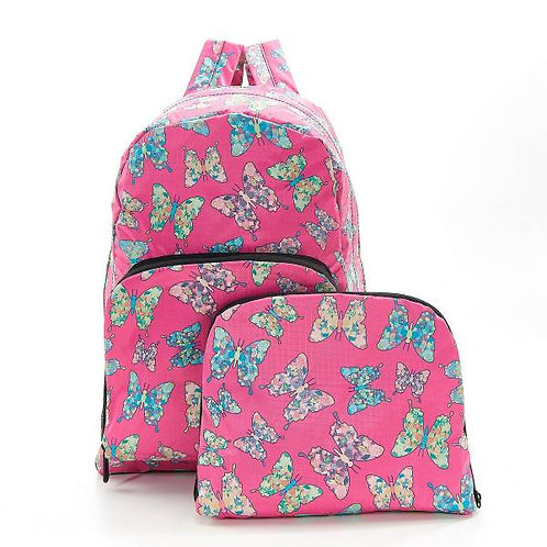 Eco Chic Foldable Backpack - Pink Butterfly