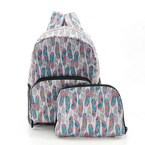 Eco Chic Mini Foldable Backpack - White Feathers