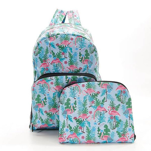 Eco Chic Foldable Backpack - Blue Flamingo