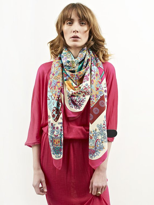 Rose Floral Silk Scarf