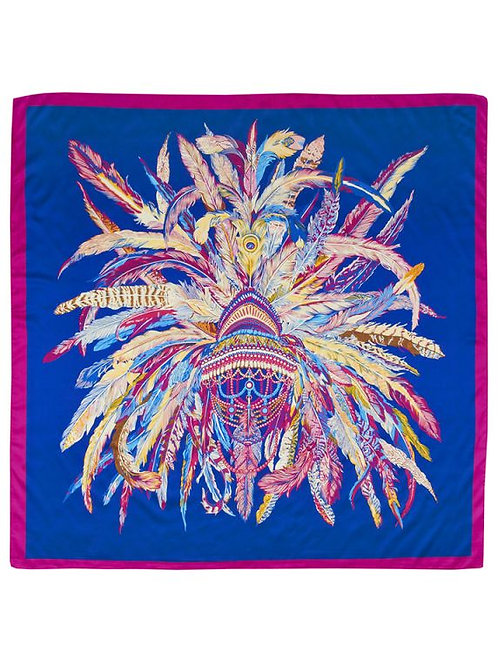 Sapphire Feather Headress Silk Scarf