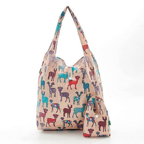 Eco Chic Foldable Shopper Bag Beige Deer