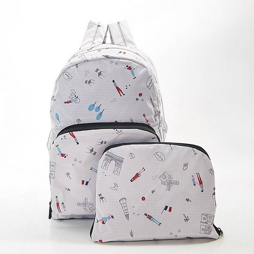 Eco Chic Foldable Backpack - White Paris Design