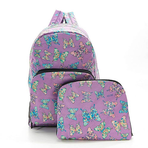 Eco Chic Foldable Backpack - Lilac Butterfly