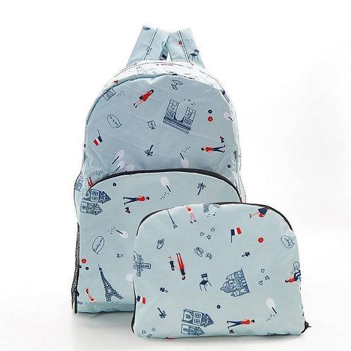 Eco Chic Foldable Backpack - Blue Paris Design