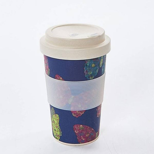 Eco Chic Reusable Bamboo Cup - Navy Blue Butterfly