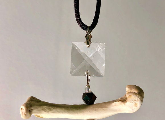 Bird Bone/Vintage Crystal Pendant
