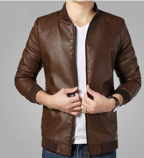 Dark Brown Leather Jacket_JK001