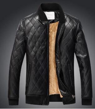 Quilted Black Leather Jacket_JK011
