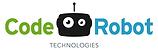Logotipo de code robot, un rostro de robot de forma cuadrada con un ojo mas grande que el otro y una antena en su cabeza