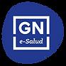 Logotipo de GN e-Salud, las letras G y N en mayúsculas encerradas en un recuadro blanco y semicírculo azul
