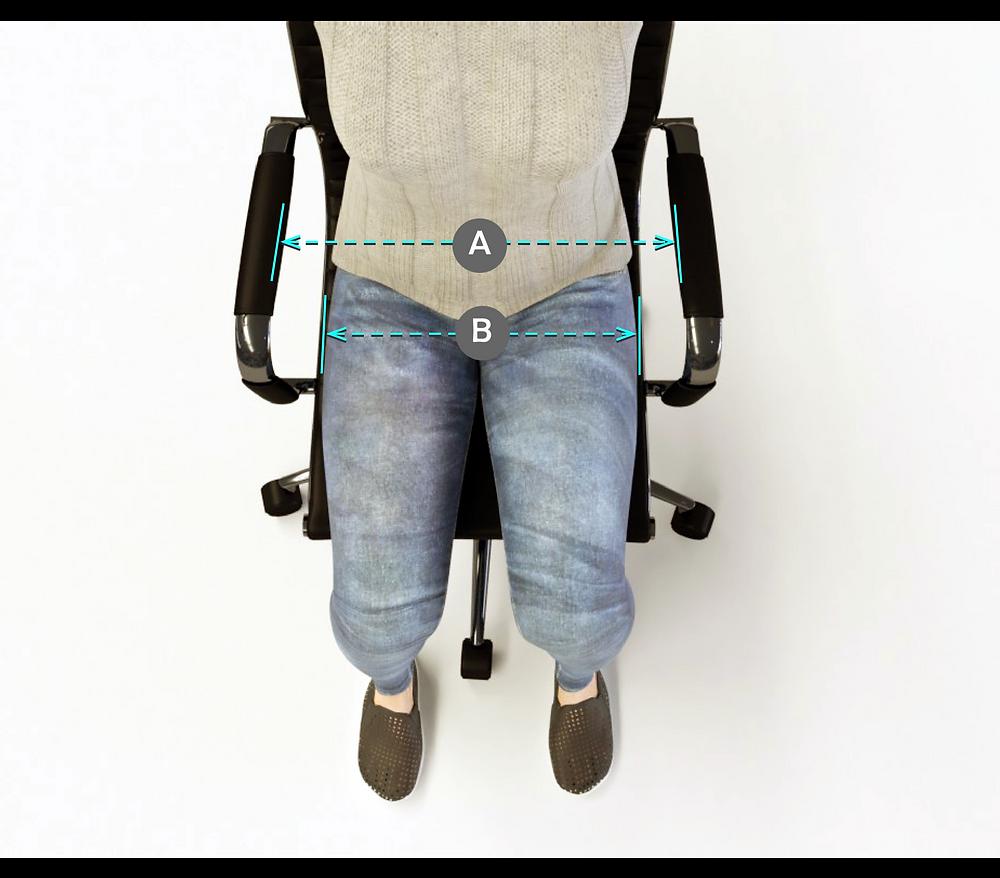 Reposabrazos, postura en silla de trabajo.