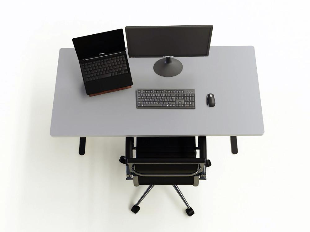Escritorio, ubicación de la computadora y  accesorios