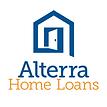 Logotipo de alterra home loans, la abstracción de la forma de una casa en color azul con una puerta abierta.