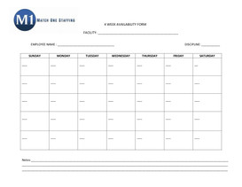 4 Week Availability Form
