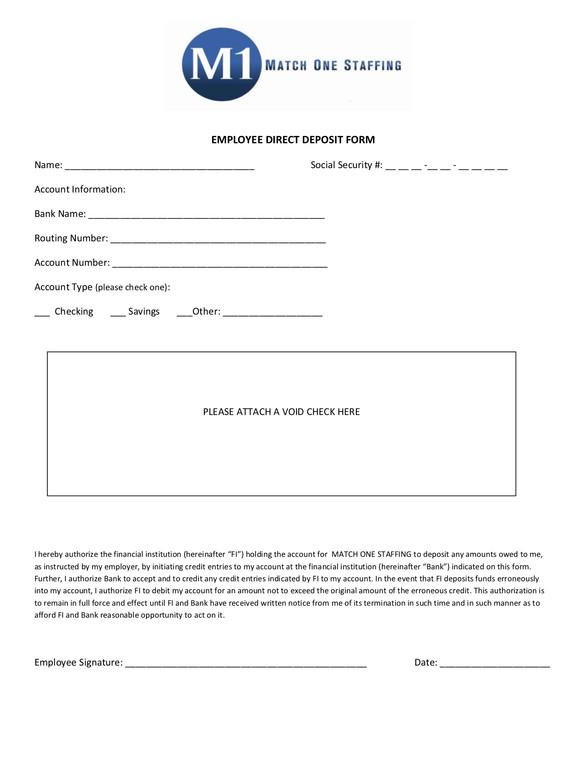 Direct Deposit Form