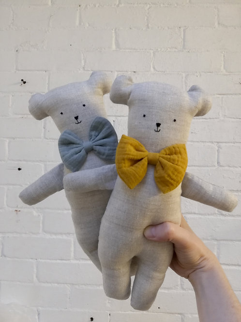 Linen Bear with Bow
