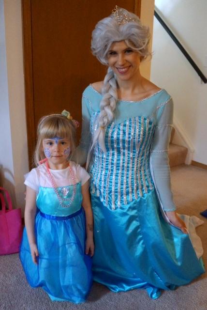 Facepainted sweetheart and Elsa