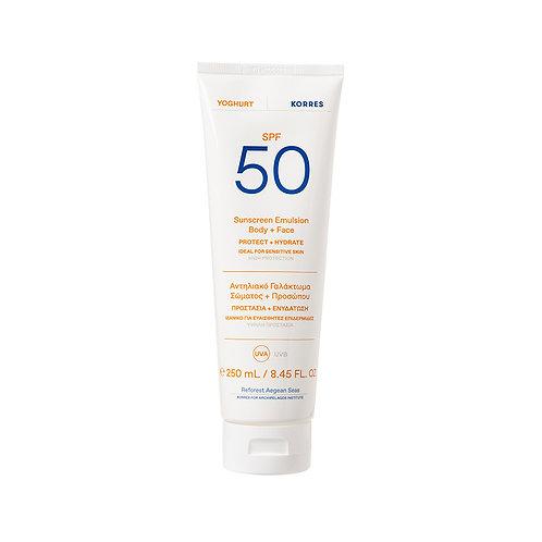 Korres Yoghurt Yogurt Sunscreen Body & Face Lotion SPF50, Sensitive Skin, 250ml