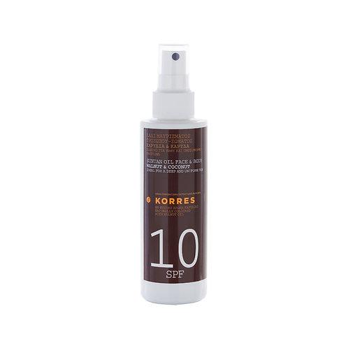 Korres SPF10 Clear Sunscreen Body Face Walnut Coconut Oil, 150ml