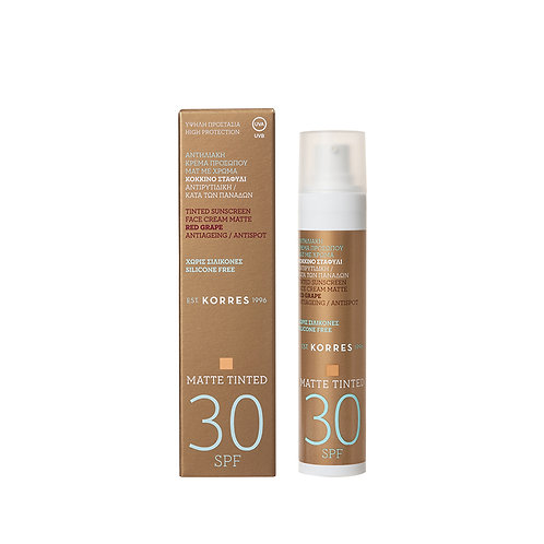 Korres Red Grape TINTED Sunscreen Face Cream MATTE SPF30,Antispot,50ml