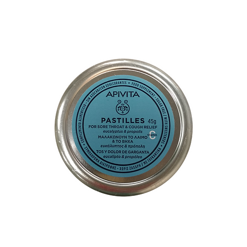 ApivitaSore Throat & Cough ReliefPastilles withEucalyptus & Propolis,45g