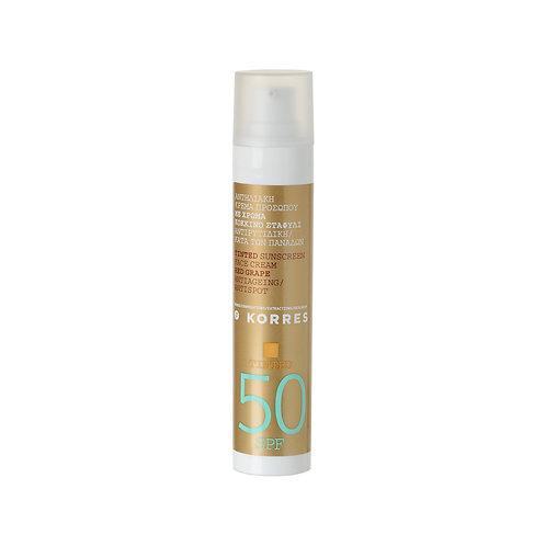 Korres Red Grape Sunscreen TINTED Face Cream SPF50 , Antiageing , Antispot ,50ml