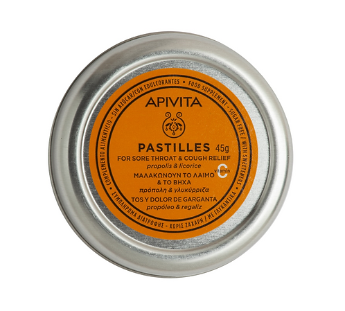 Apivita Sore Throat & Cough Relief Pastilles with Propolis & Licorice,45gr