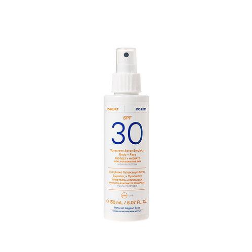 Korres Yoghurt Yogurt Sunscreen Body & Face Spray Emulsion SPF30,150ml