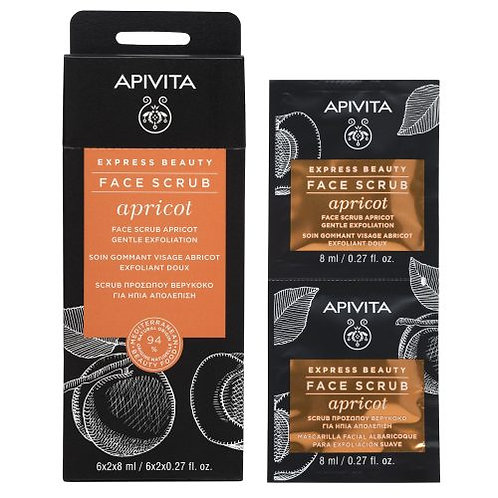 Apivita Express Beauty Gentle Exfoliating Face Gel,Scrub with Apricot , 6x2x8ml