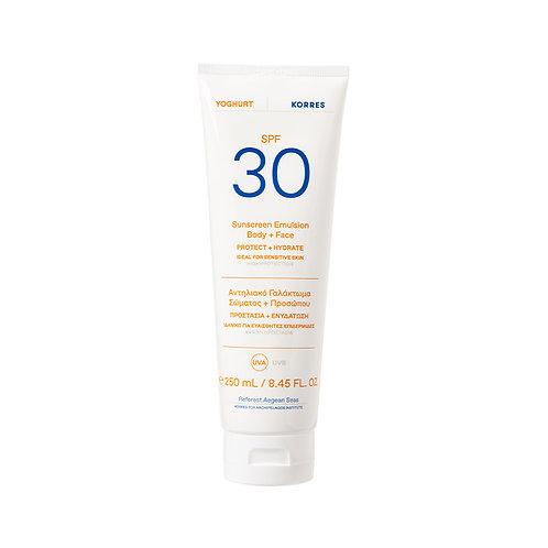 Korres Yoghurt Yogurt Sunscreen Body & Face Lotion SPF30, Sensitive Skin, 250ml