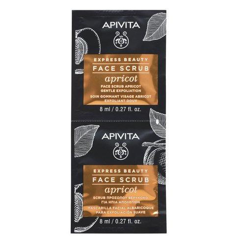 Apivita Express Beauty Gentle Exfoliating Face Gel,Scrub with Apricot , 2x8ml