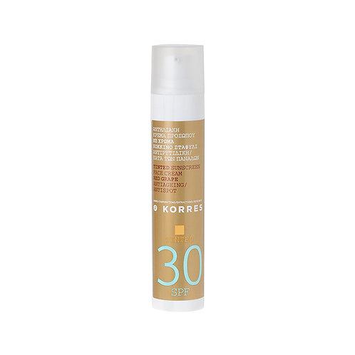 Korres Red Grape Sunscreen TINTED Face Cream SPF30 , Antiageing , Antispot ,50ml