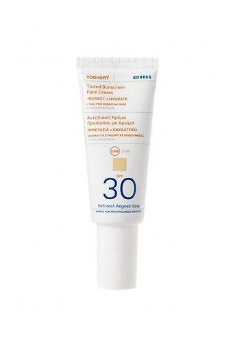 Korres Yoghurt Yogurt TINTED Sunscreen Face Cream SPF30, Sensitive Skin,40ml