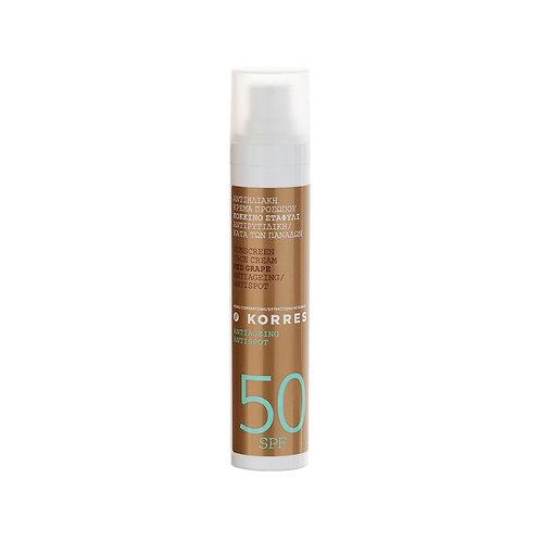 Korres Red Grape Sunscreen Face Cream SPF50 , Antiageing , Antispot , 50ml