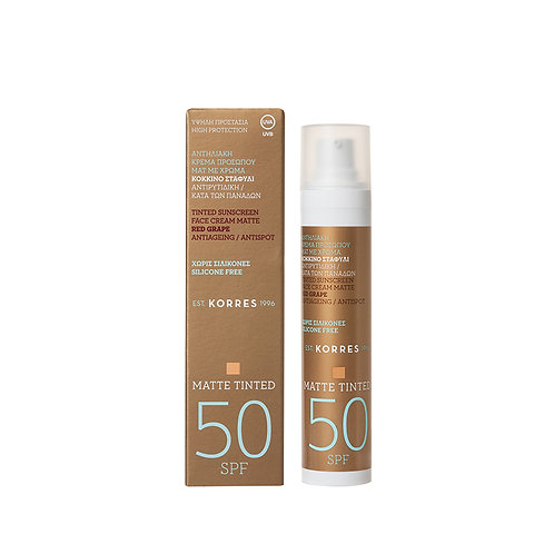 Korres Red Grape TINTED Sunscreen Face Cream MATTE SPF50,Antispot,50ml