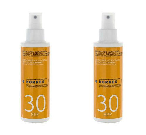 Korres SPF30 Yoghurt Sunscreen Face and Body Cream 2-Pack Set, 2x150ml