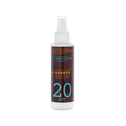 Korres SPF20 Clear Sunscreen Body Walnut Coconut Oil, 150ml (5.07oz)