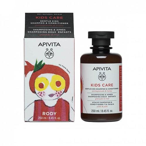 Apivita Kids Care Shampoo & Conditioner with Pomegranate & Honey, 250ml