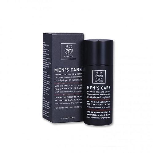 Apivita Men's Care Anti-Wrinkle, Face Eye Cream,with Cardamom & Propolis ,50ml