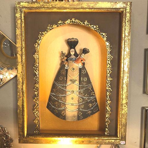Madonna avec un enfant boîte marron/or