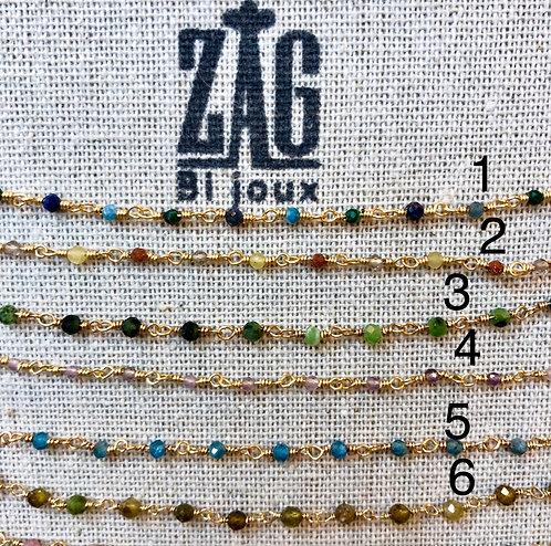 Collier acier doré + pierres semi-précieuses ZAG