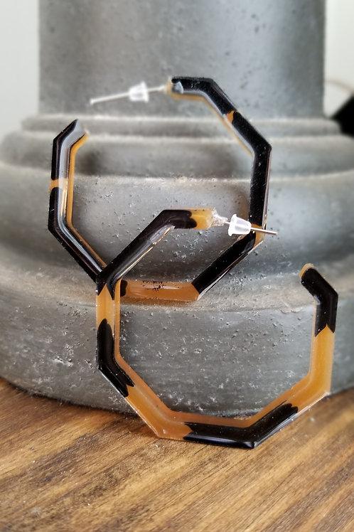 Handmade Black & Tan Resin Hoop earrings