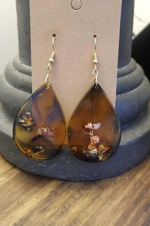 Tortoise shell & gold leaf resin earrings