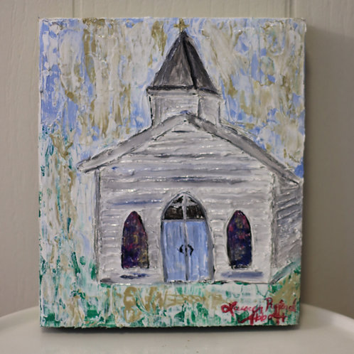 Small Church Painting on Wood