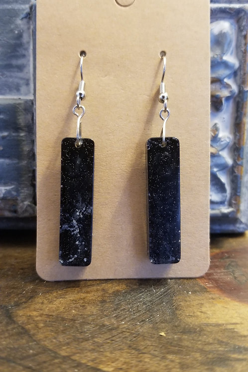 Black with specs of white resin earrings