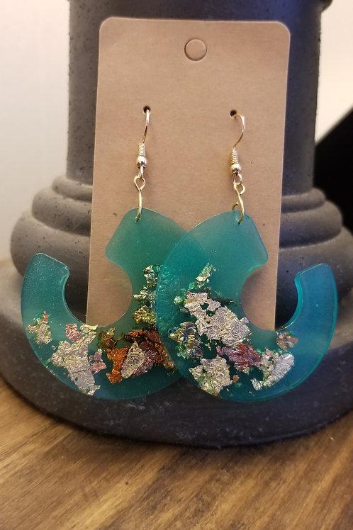 Handmade Turquoise & Gold leaf Resin earrings