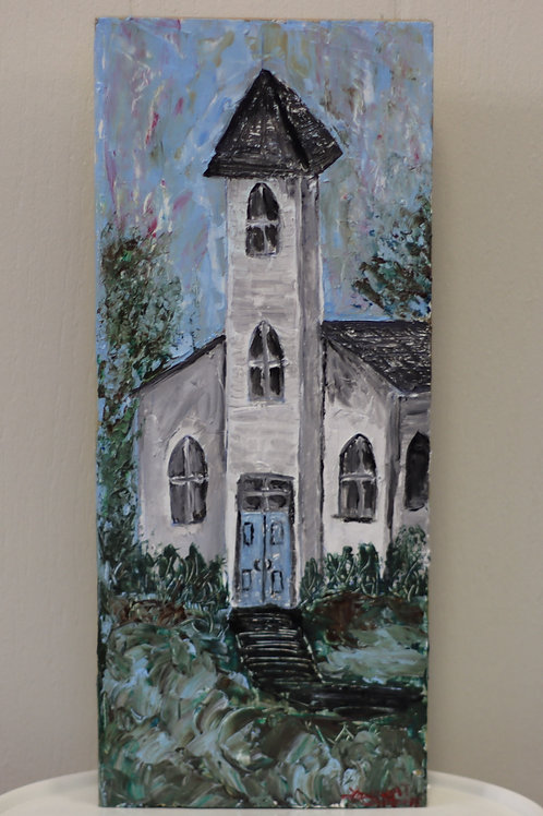 White Church Painting on Wood