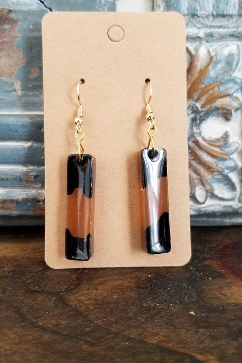 Handmade Black & Tan Resin earrings