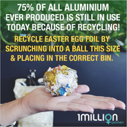 75% of all aluminium ever produced is still in use today because of recycling! Recycle Easter egg foil by scrunching into a ball this size and placing in the correct bin.